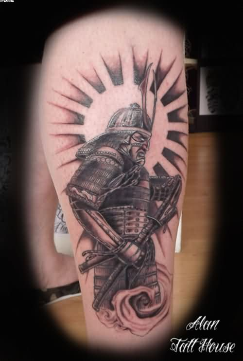 Samurai Warrior Tattoo On Leg