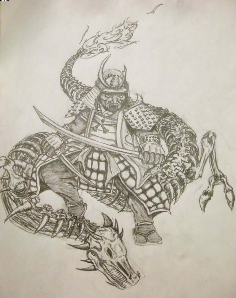 Samurai Warrior Tattoo Sketch