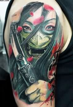 Scary Asian Warrior Girl Tattoo On Arm