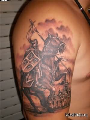 Serbian Warrior Tattoo On Biceps