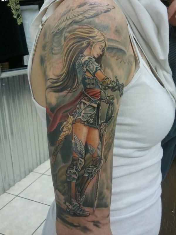 Sexy Female Warrior Tattoo On Right Arm
