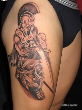 Sexy Greek Warrior Tattoo On Right Thigh