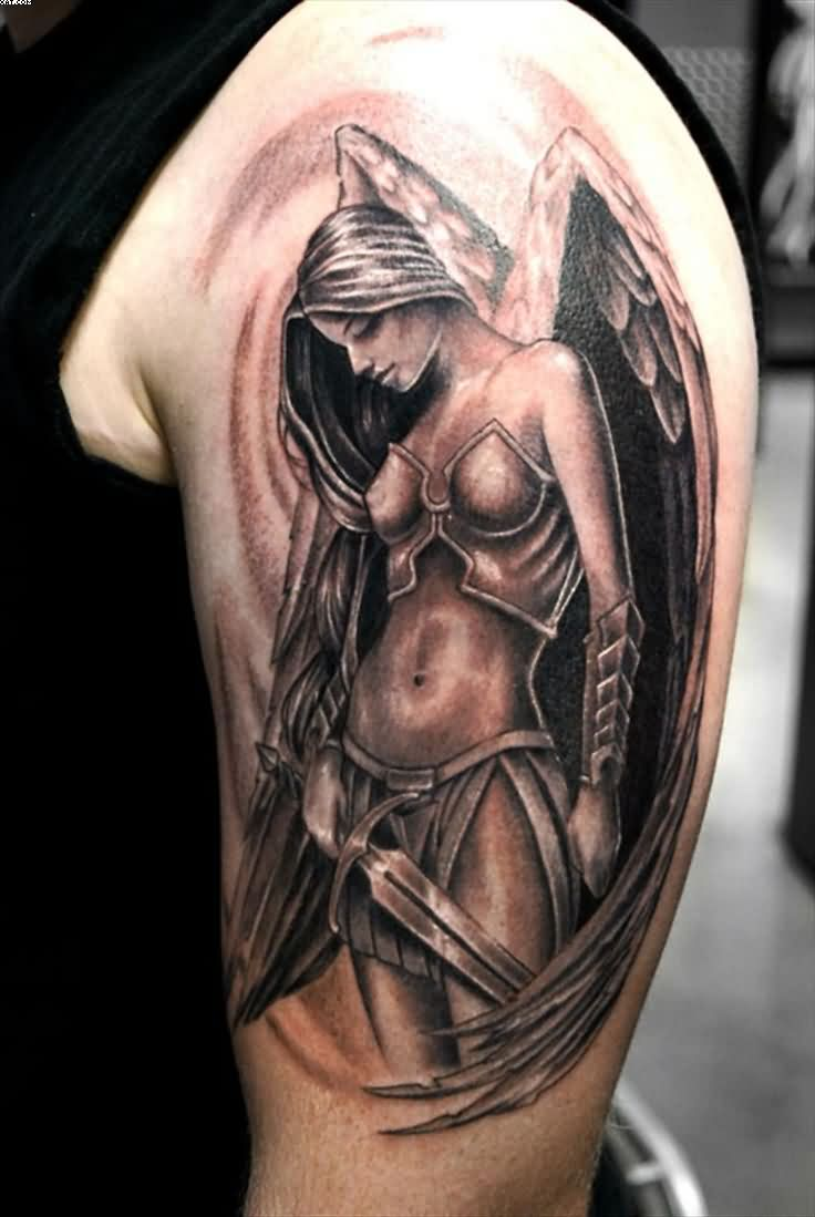 Sexy Warrior Girl Tattoo On Upper Arm