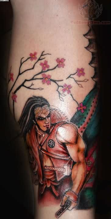 Shining Flowers And Samurai Warrior Tattoos