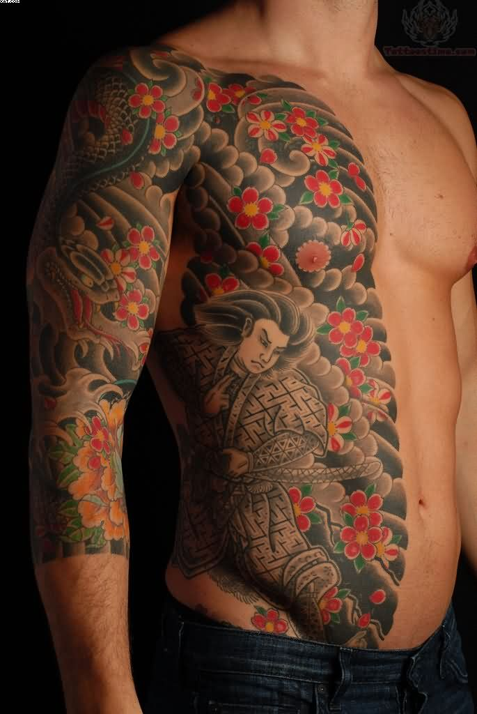 Side Rib Japanese Warrior Tattoo For Men