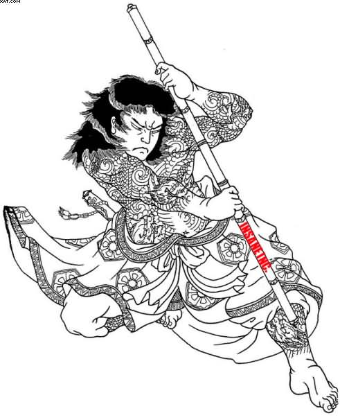 Simple Asian Warrior Tattoo Design