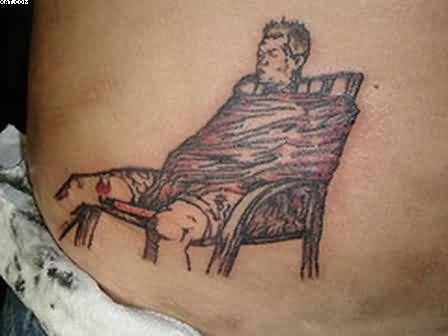 Sitting Chair Tattoo On Waist