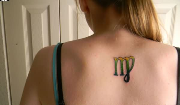 Small Colorful Virgo Tattoo On Upper Back