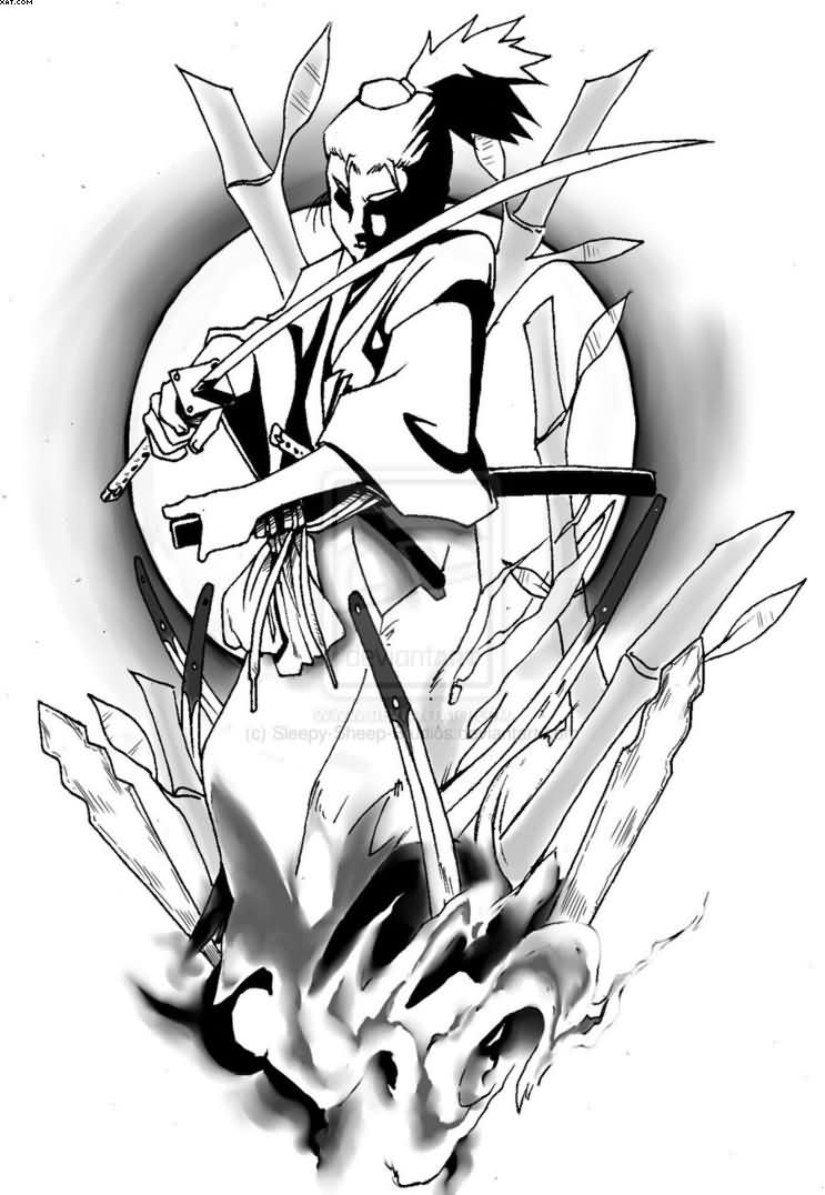 Soul Of A Samurai Warrior Tattoo Design