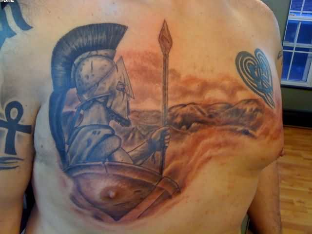 Spartan Warrior Grey Ink Tattoo On Chest