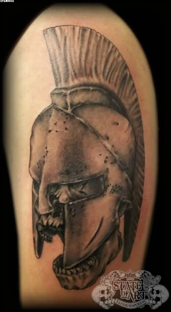 Spartan Warrior Helmet Tattoo For Biceps
