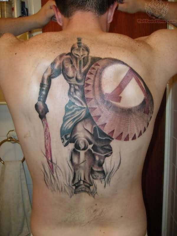 Spartan Warrior King Tattoo On Back