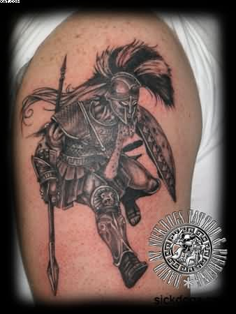 Spartan Warrior Tattoo On Biceps