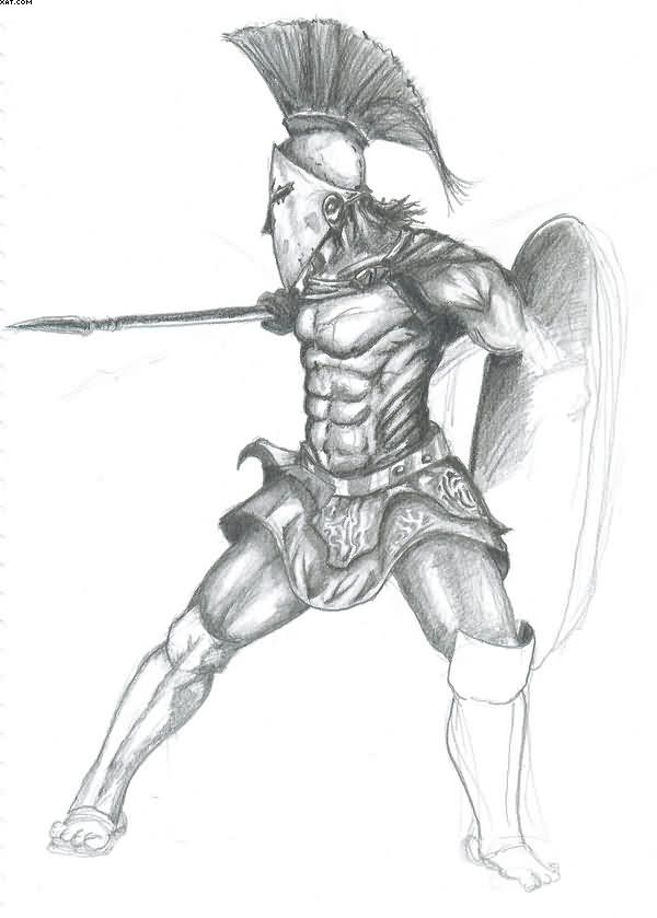 Spartan Warrior Tattoo Sketch