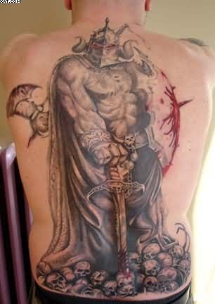 Spartan Warrior With Bleeding Sword Back Piece Tattoo