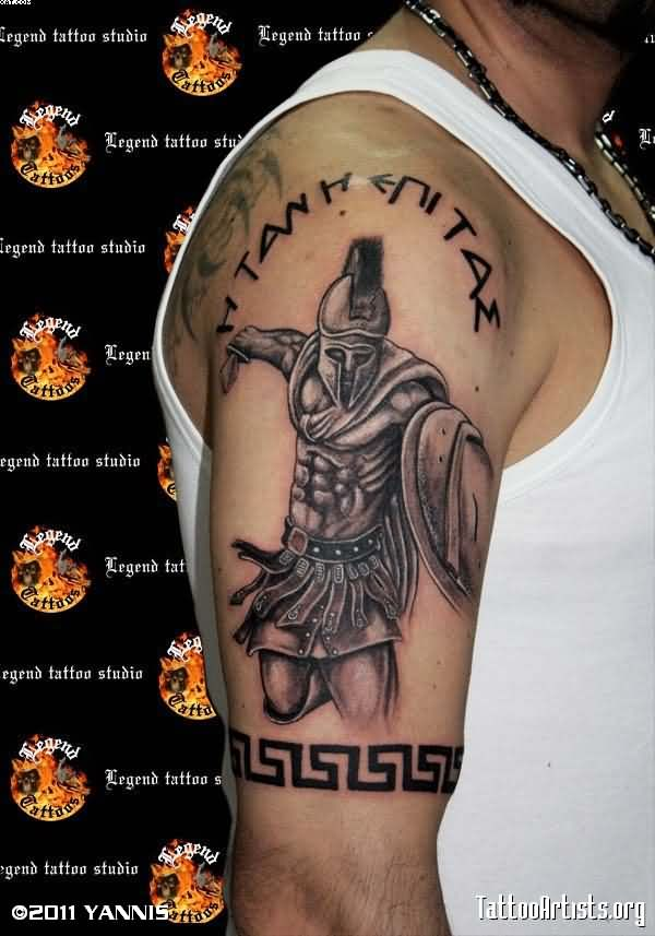 Spartan Worrior Legend Tattoo On Right Half Sleeve