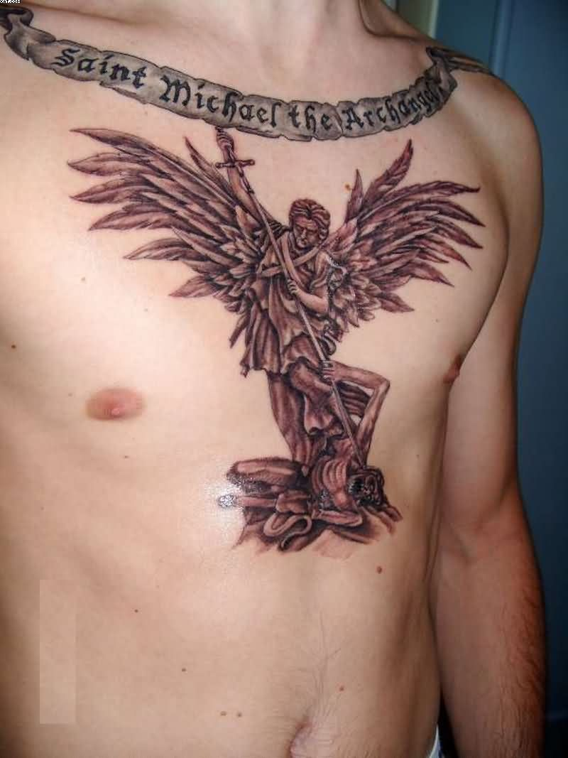 St Michael The Archangel Western Tattoo On Chest