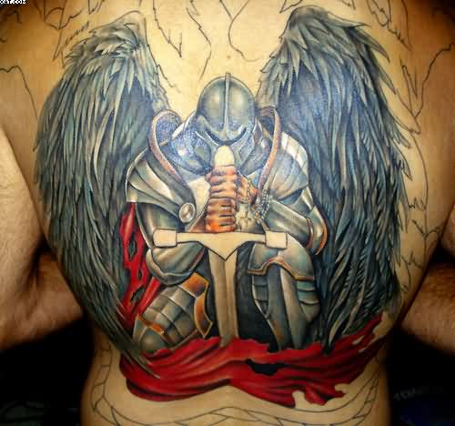 Stunning Warrior Tattoo For Back