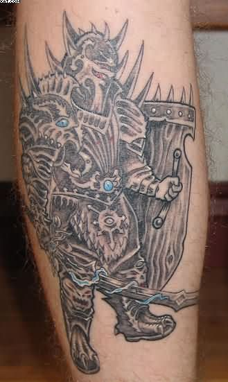 Stylish Warrior Tattoo On Leg
