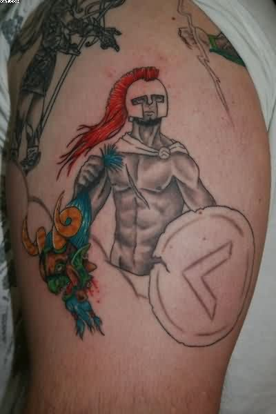 Terrific Greek Warrior Tattoo For Biceps