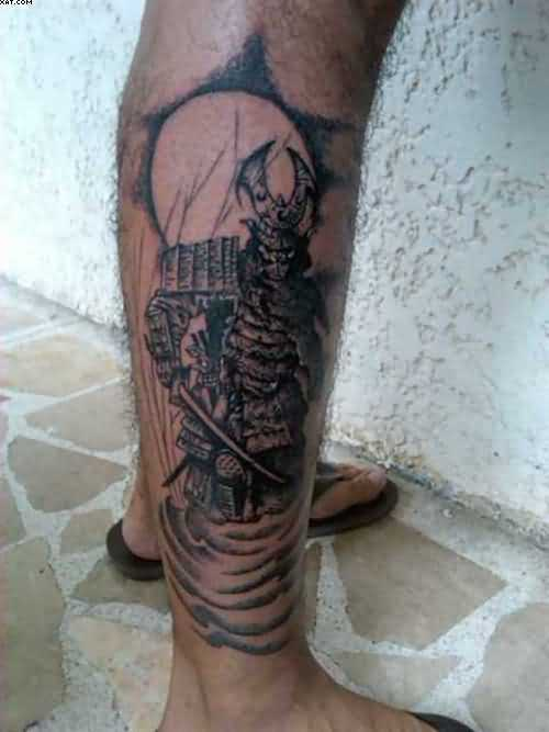 Terrific Samurai Warrior Tattoo On Right Leg