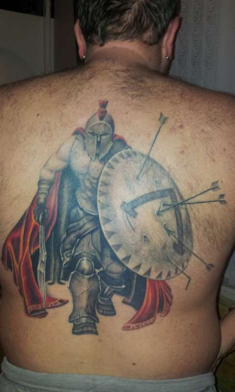 Terrific Spartan Warrior Tattoo On The Back