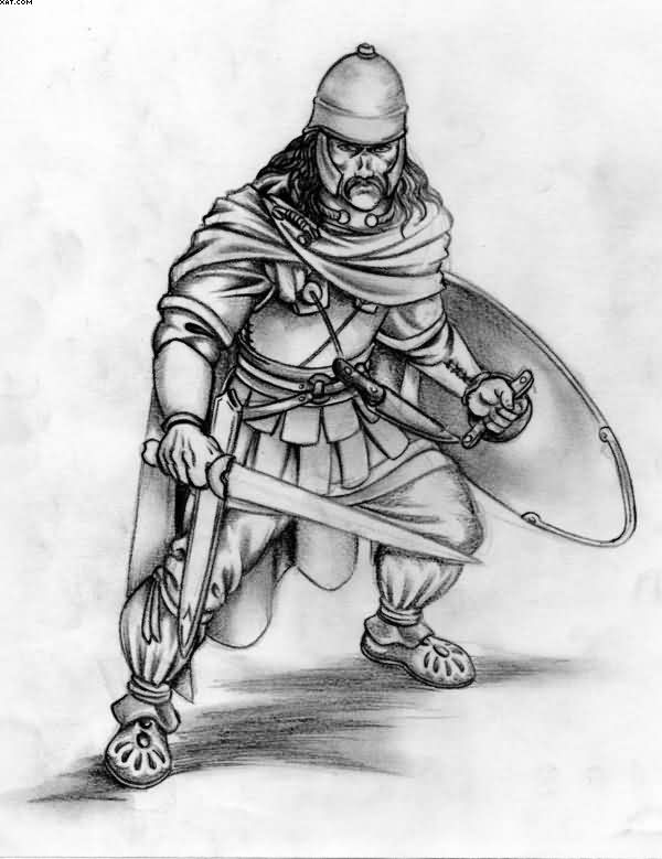 The Celtic Warrior Tattoo Sketch
