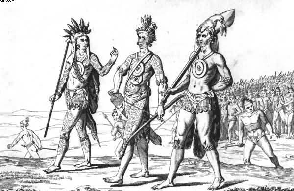 Timucua Warriors With Weapons And Tattoo Designs