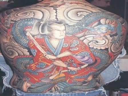 Traditional Japanese Warrior And Dragon Tattoos