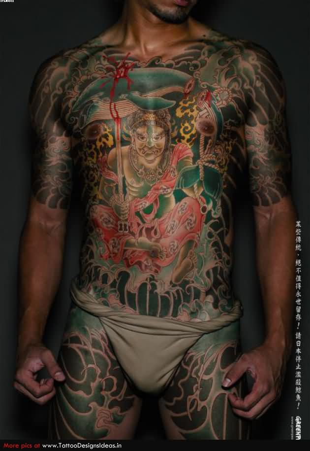 Traditional Japanese Warrior Tattoo On Front Body