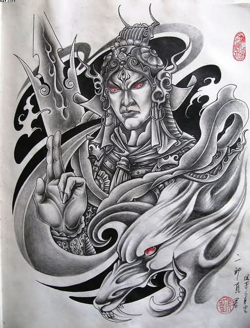 Trbal Japanese Warrior And Dragon Tattoo Designs