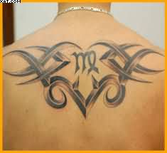 Tribal And Virgo Sign Tattoos On Upper Back
