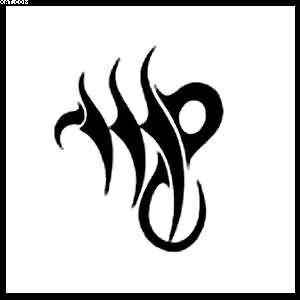 Tribal Black Ink Virgo Zodiac Sign Tattoo