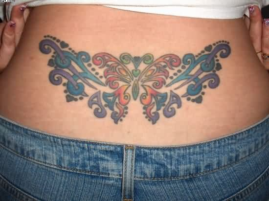 Tribal Color Ink Butterfly Lower Waist Tattoo