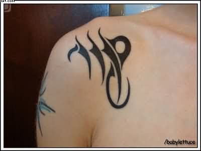 Tribal Virgo Zodiac Tattoo For Shoulder