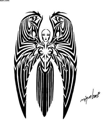 Tribal Warrior Angel Tattoo Design