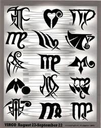 Tribal Zodiac Virgo Tattoo Sheet