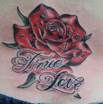 True Love Rose Tattoo On Waist