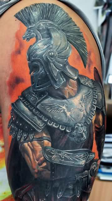 Upper Arm Realism Warrior Tattoo For Men