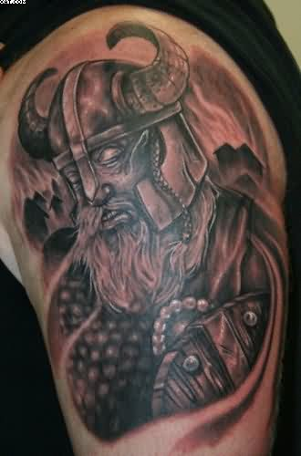 Upper Arm Viking Warrior Tattoo For Men