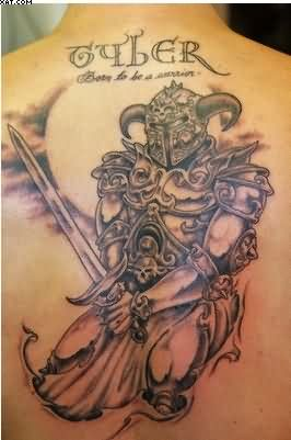 Upper Back Warrior Tattoo For Men