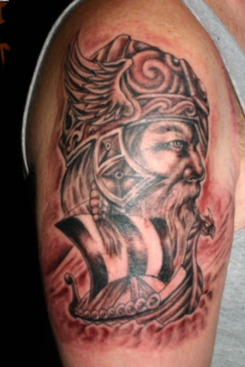 Viking Celtic Warrior Tattoo On Biceps