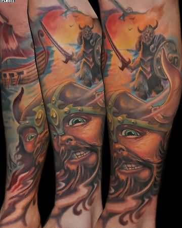 Viking Warrior Color Ink Leg Sleeve Tattoos
