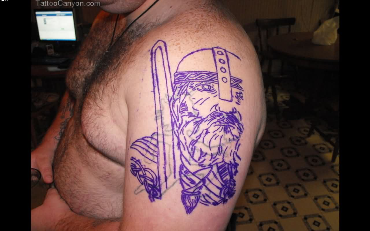 Viking Warrior Cover Tattoo On Biceps