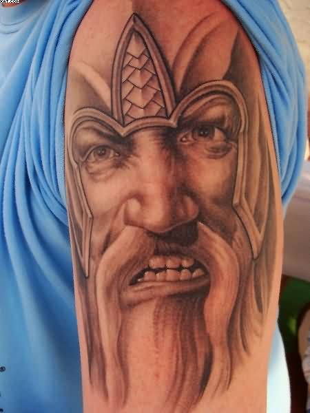 Viking Warrior Face Portrait Tattoo On Biceps