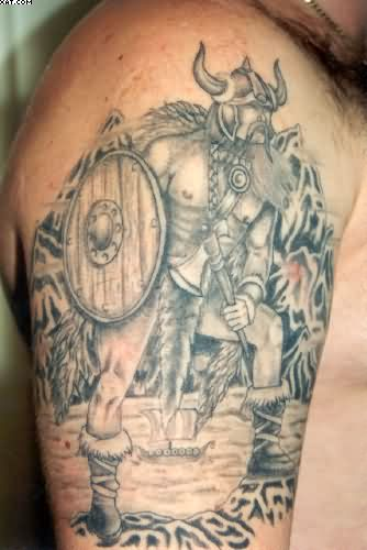 Viking Warrior Grey Ink Tattoo On Biceps