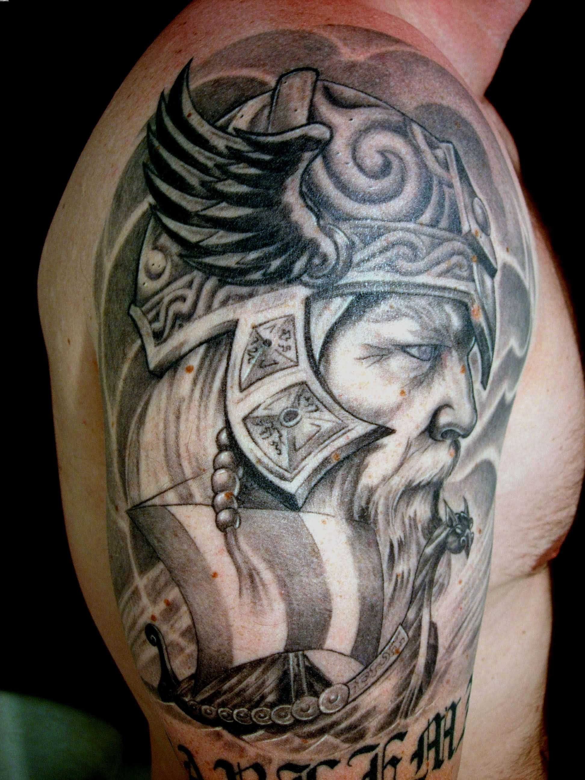 Viking Warrior Head Grey Ink Tattoo On Shoulder