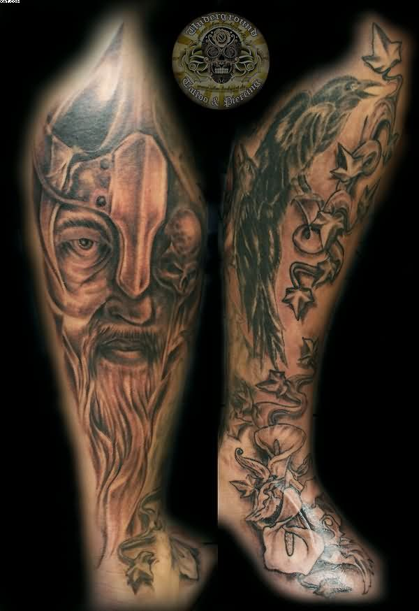 Viking Warrior Raven Flowers Leg Sleeve Tattoos