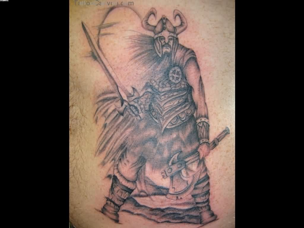 Viking Warrior With Axe And Sword Tattoo