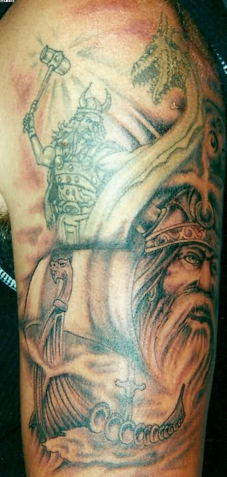 Viking Warriors Tattoos On Biceps